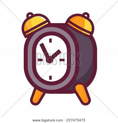 Vintage Alarm Clock Icon. Retro Style Bell Timepiece. Classic Antique-styled Twin Bell Morning Wakeu