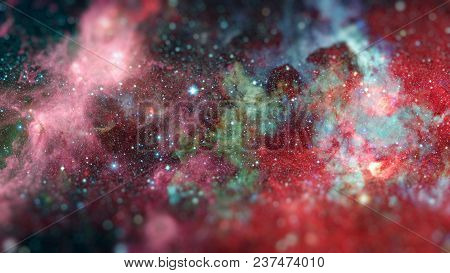 Nebula And Stars In Outer Space. Science Fiction Art With Small Dof. Elements Of This Image Furnishe