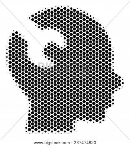 Halftone Hexagon Brain Wrench Tool Icon. Pictogram On A White Background. Vector Concept Of Brain Wr