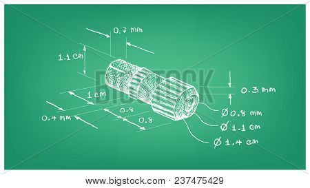 Illustration Hand Drawn Sketch Dimension Of Tv Aerial Plug Or Professional Coaxial Cable Television