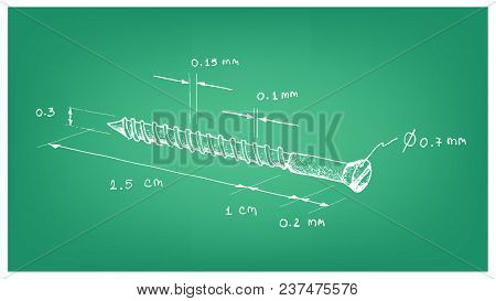 Manufacturing And Industry, Illustration Hand Drawn Sketch Dimension Of Slotted Pan Head Phillips Se