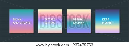 Holographic Fluid Set. Geometric Shapes On Gradient Background. Trendy Hipster Template For Card, Pr