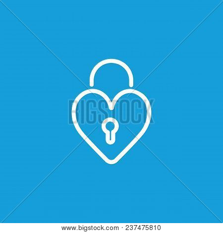 Line Icon Of Heart-shaped Lock. Clutch, Valentine Day, Love. Heart Concept. Can Be Used For Topics L