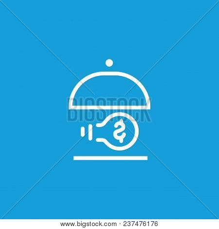 Icon Of Dish With Bulb And Dollar Symbol. Lamp, Money, Metaphor. Startup Project Or Innovation Conce