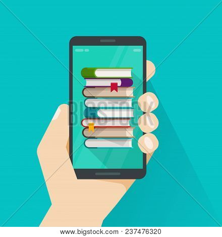Books On Mobile Phone Screen Vector Illustration, Flat Cartoon Books Stack On Smartphone, Concept Of