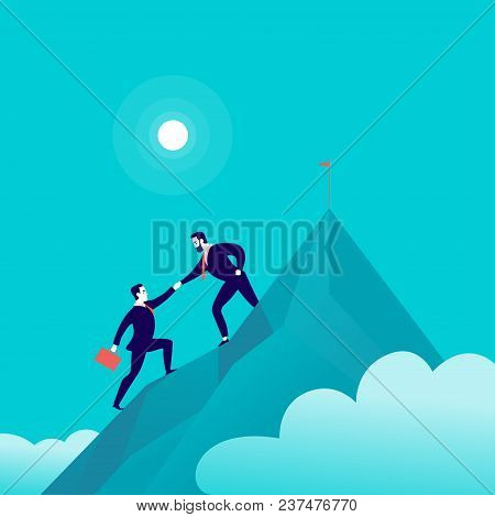 Vector Flat Illustration With Business People Climbing Together On Mountain Peak Top On Blue Clouded