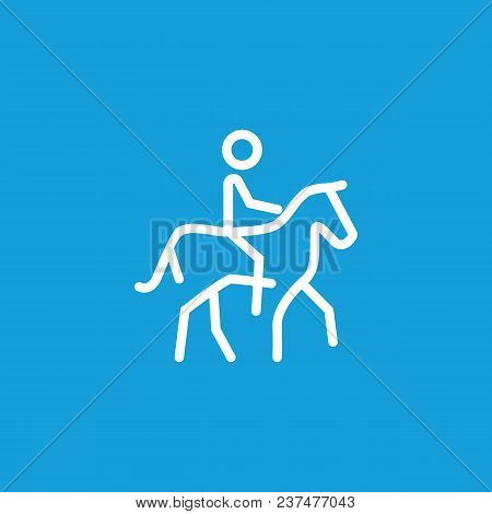 Line Icon Of Man Riding Horse. Equestrian Center, Race Track, Horseracing. Sport And Leisure Concept
