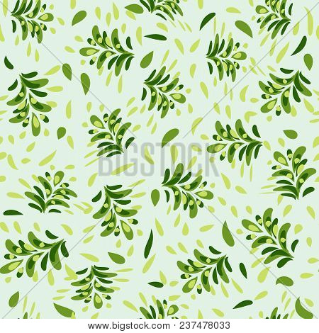 Beautiful Abstract Pattern With A Repeating Green Floral Pattern On A Green Grass Field. Excellent A