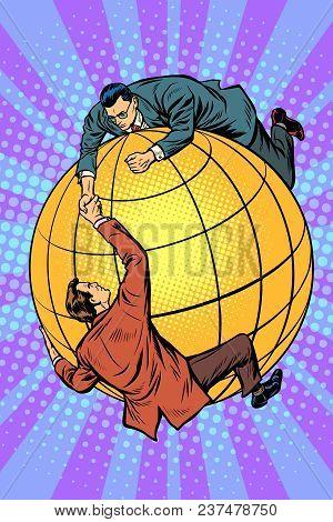 Politicians On The Globe Help Each Other. Global Business And International Politics. Pop Art Retro
