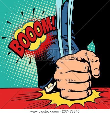 Businessman, Hit His Fist On The Table. Pop Art Retro Vector Illustration Cartoon Comics Kitsch Draw