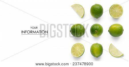 Set Lime Fruit Citrus Pattern On White Background Isolation