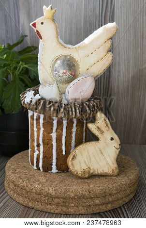 Easter Cake. Gingerbread In The Form Of Chicken And Rabbit.