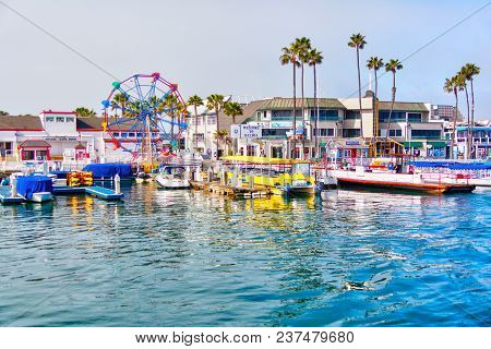 Newport Beach, Ca, Usa - Mar 29, 2018: Popular Pier At Balboa Peninsula In Southern California With