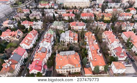 Warsaw, Poland - January 5, 2018. Aerial Drone View From Above Of Warsaw City District With Old Resi