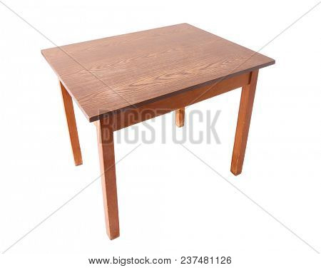 Small wooden tabble isolated on white