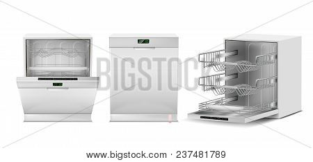 Vector 3d Realistic Dishwasher With Open, Closed Door, Digital Display. Front, Side View Of Dishwash