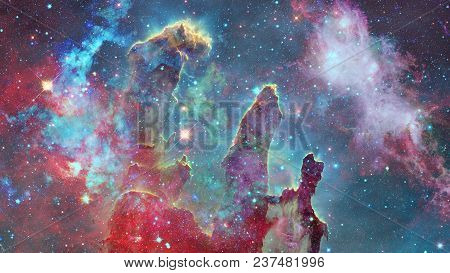 Colored Nebula And Open Cluster Of Stars In The Universe. Elements Of This Image Furnished By Nasa.