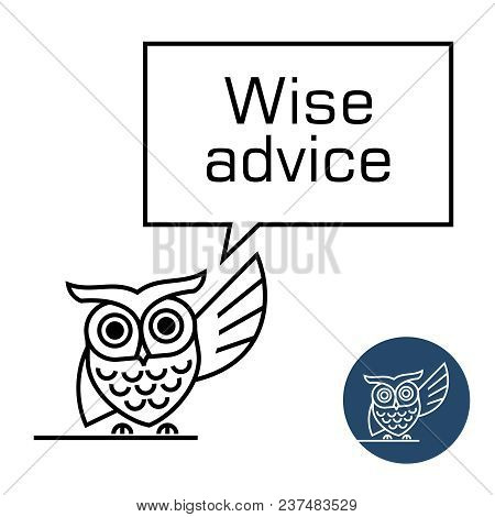 Owl With Speech Bubble Line Style Illustration. Wise Advice Concept. Owl Speaking.