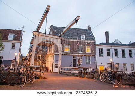 Amsterdam, Netherlands - April 21, 2017: Draw Bridge Staalmeestersbrug, The Bridge That Crosses The