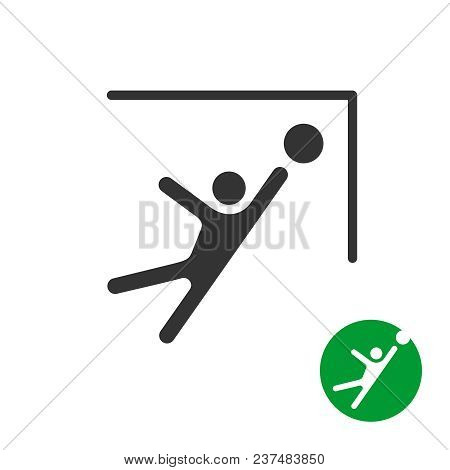 Catch The Ball Icon. Goalkeeper Catching The Soccer Football Ball In A Gates Corner. Jumping Man Sil