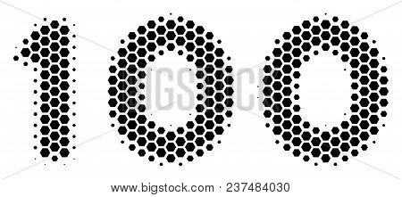 Halftone Hexagonal 100 Text Icon. Pictogram On A White Background. Vector Pattern Of 100 Text Icon D