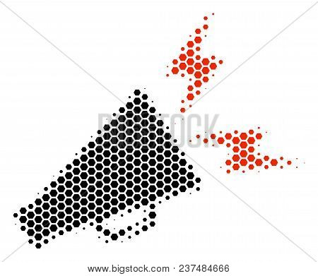 Halftone Hexagonal Alert Megaphone Icon. Pictogram On A White Background. Vector Collage Of Alert Me