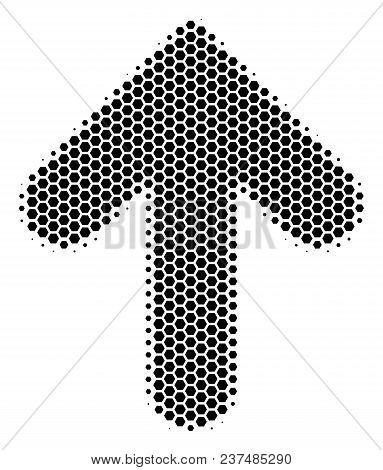 Halftone Hexagonal Arrow Direction Icon. Pictogram On A White Background. Vector Mosaic Of Arrow Dir