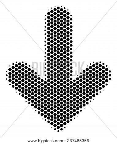 Halftone Hexagon Arrow Down Icon. Pictogram On A White Background. Vector Pattern Of Arrow Down Icon