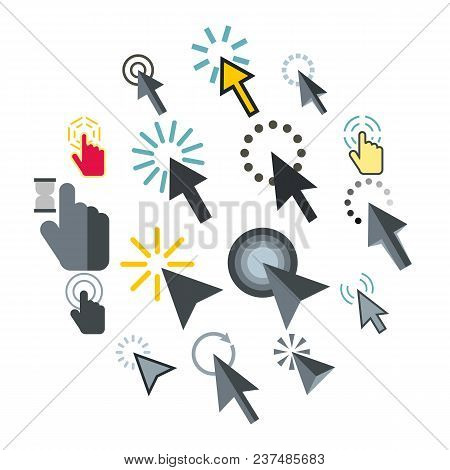 Flat Mouse Pointer Icons Set. Universal Mouse Pointer Icons To Use For Web And Mobile Ui, Set Of Bas