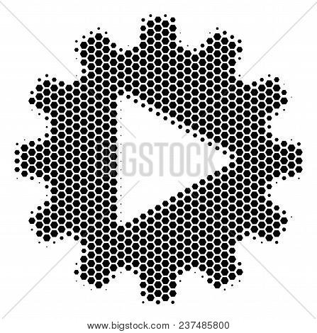 Halftone Hexagon Automation Icon. Pictogram On A White Background. Vector Concept Of Automation Icon