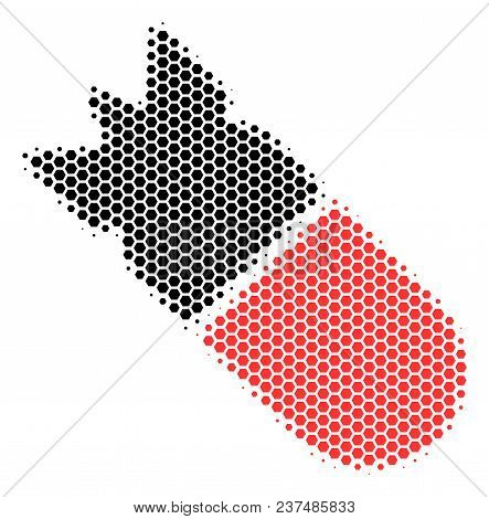 Halftone Hexagonal Aviation Bomb Icon. Pictogram On A White Background. Vector Collage Of Aviation B