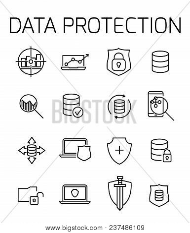 Data Protection Related Vector Icon Set. Well-crafted Sign In Thin Line Style With Editable Stroke.