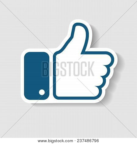 New Like icon. In trendy paper art style. Thumb up Vector Illustration. Eps 10