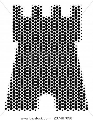 Halftone Hexagonal Bulwark Tower Icon. Pictogram On A White Background. Vector Concept Of Bulwark To