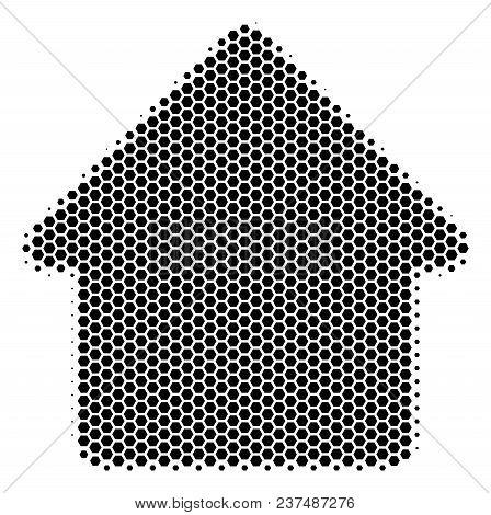 Halftone Hexagonal Cabin Icon. Pictogram On A White Background. Vector Concept Of Cabin Icon Compose