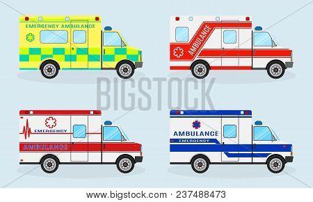 Set Of Four Emergency Ambulance Cars. Ambulance Car Side View. Emergency Medical Service Vehicle. Me