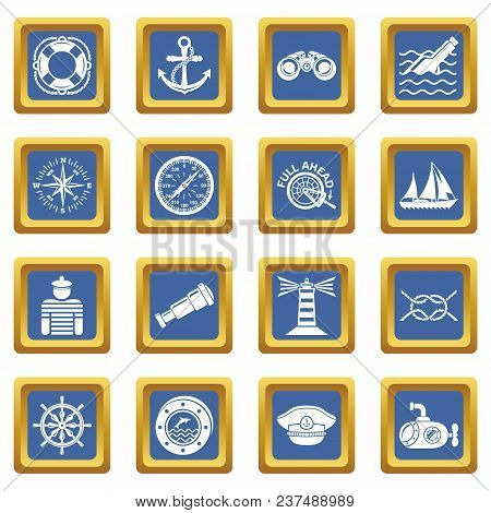 Nautical Icons Set Vector Blue Square Isolated On White Background