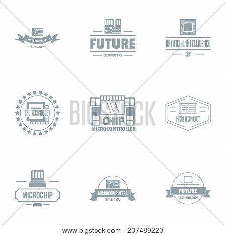 Microcircuit Chip Logo Set. Simple Set Of 9 Microcircuit Chip Vector Logo For Web Isolated On White