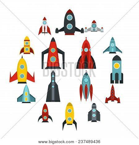 Flat Rocket Icons Set. Universal Rocket Icons To Use For Web And Mobile Ui, Set Of Basic Rocket Elem