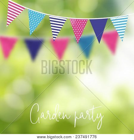 Birthday Garden Party Or Brazilian June Party. Vector Illustration With Garland Of Party Flags And B