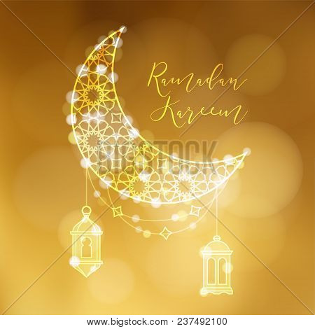Golden Ornamental Moon With Arab Lanterns And Bokeh Lights. Festive Decoration, Vector Illustration