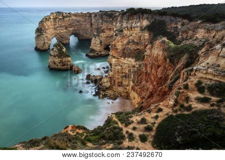 Magnificent Seascape Of The Beach Of Marinha Before Sunset Algarve