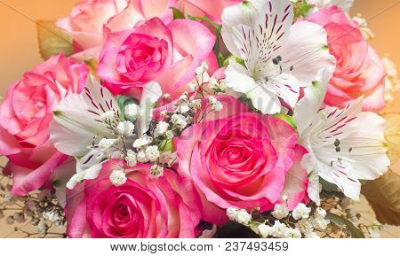 A Bouquet Of Beautiful Wedding Flowers, Pink Roses. Close Up