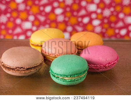 Group Of Several Colorful Traditional French Cookies On A Wooden Background, Close-up,