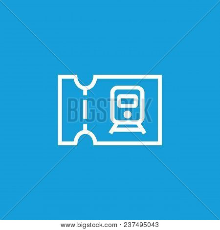 Line Icon Of Train Ticket. Ticket Control, Railway Ticket Office, Railway Station. Transport And Tra