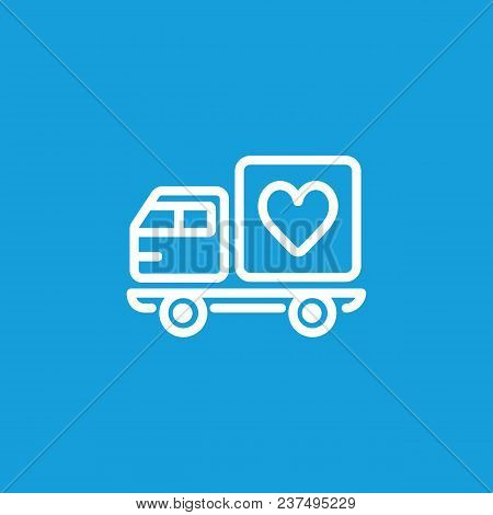 Line Icon Of Truck With Heart Symbol. Valentine Delivery, Affection, Valentine Day. Love Concept. Ca
