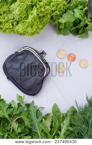 Fresh Green Vegetables And Wallet With Coins. Green Organic Food And Black Purse With Money, Top Vie