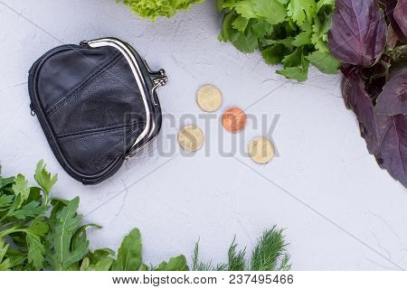 Wallet, Coins And Green Organic Food. Green Fresh Herbs, Purse, Money And Copy Space. Pension And He