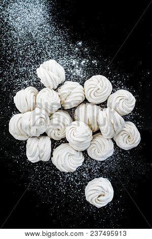 Handmade White Zefir On The Black Background