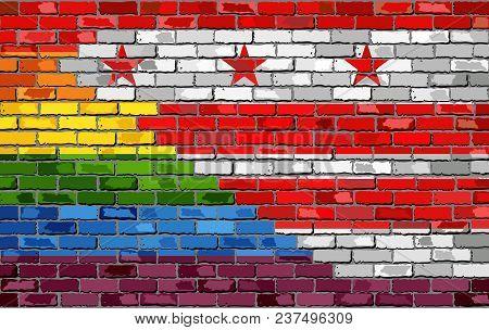 Brick Wall Washington, D.c. And Gay Flags - Illustration, Rainbow Flag On Brick Textured Background,